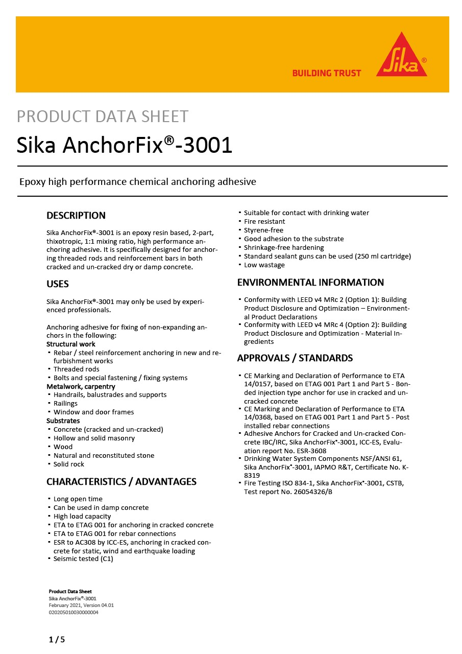 Product Data Sheet - Sika® AnchorFix-3001